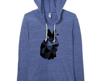 hoodie - rabbit - space - pullover hoodie - geometric -  urban heather - rabbits - lightweight hoodie - hoodies - graphic hoodie - womens