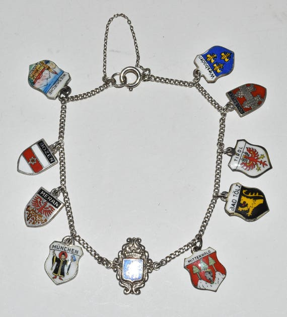 0 Vintage 800 835 Silver Enamel Travel Shield Charms Bracelet Germany Austria Italy
