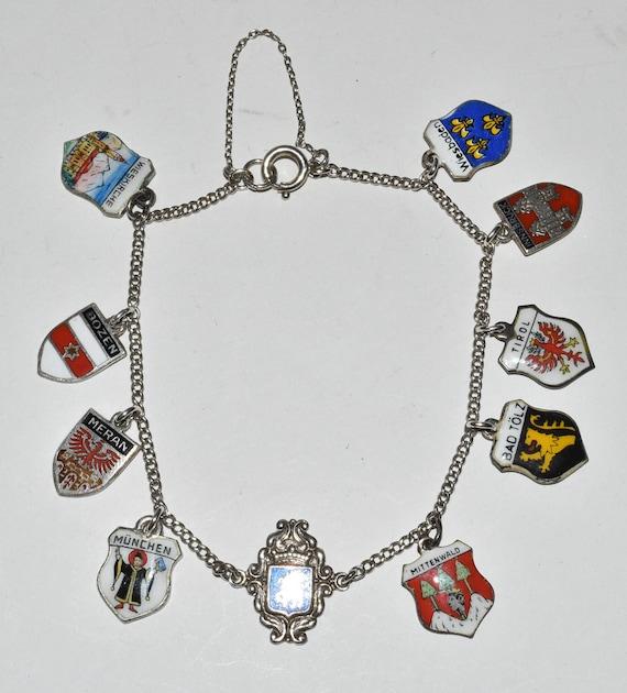 0 Vintage 800 835 Silver Enamel Travel Shield Charms Bracelet Germany Austria Italy