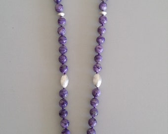 Charoite Necklace with Ruby Pendant