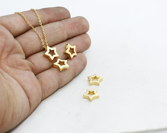 24k Gold Plated Star Pendant  , 12,5mm Initial Pendant , Star Pendant, Geometric Pendant, Geo Necklace Charms, Gold Plated Pendant MTE123