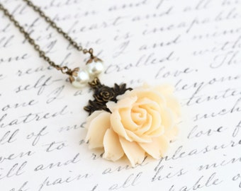Mother Gift - Cream Rose Necklace - Statement Necklace - Vintage Style Flower Necklace - Bridal Necklace - Cream Necklace - Wedding Necklace