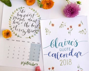 Claire's Quote Calendar 2018, A4 Portrait Calendar, PDF Printable Calender