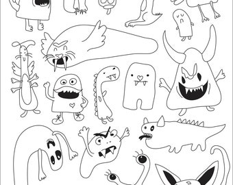 Monsters - Art Outlines Full Page 18 Original Hand Drawn Outline Illustrations