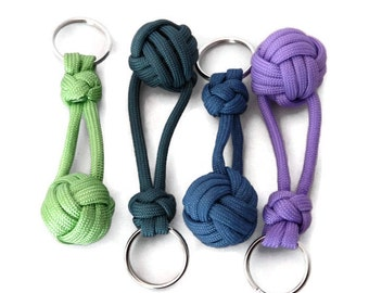 Colorful Keychain, Monkey Fist Keychain, Paracord Keychain, Knotted Keychain, Nautical Fob, Monkey Fist, Backpack Charm, Gift for Teen