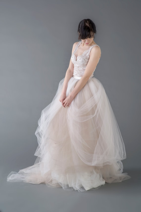 Catherine two piece wedding dress / bridal gown / nude