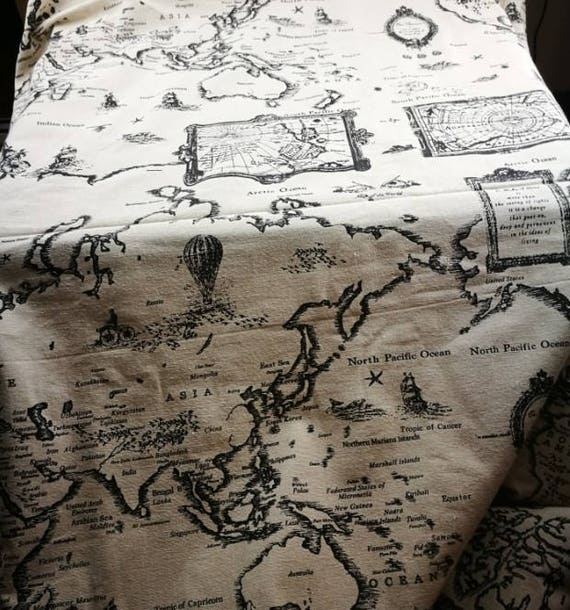 World map linen fabric world map curtain panel cotton linen sold by shop4cotton gumiabroncs Images