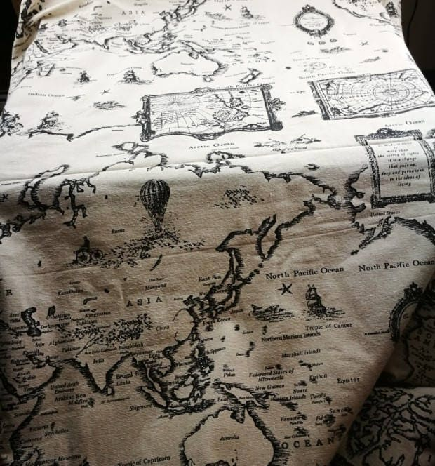 World map linen fabric world map curtain panel cotton linen sold by shop4cotton gumiabroncs Gallery