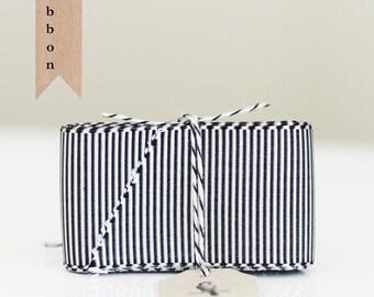 3 Yards of Black and Gray stripe grosgrain ribbon