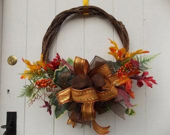 """Autumn Foliage and Berry Door Wreath 14"""" - 16"""" Diameter (36cm - 41cm)"""