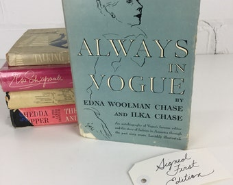 Vintage 1954 Vogue Magazine Editor Memoir, Always in Vogue, Edna Woolman Chase, Signed First Edition Hardcover Book with B&W Photographs