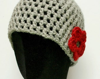 Beanie Hat  - Grey with Red Flower