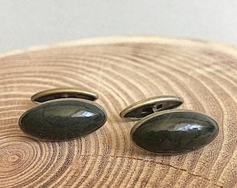 Gorgeous Vintage Cufflinks. Soviet vintage sterling silver natural green Jasper gemstone cufflinks. Soviet Memorabilia. USSR