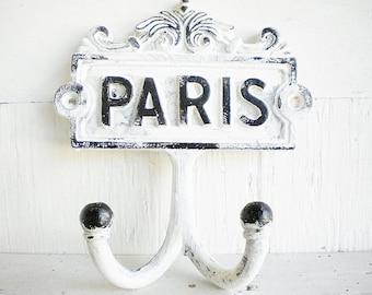 Paris Metal Wall Hook In Black And White Vintage Style Repurposed,  Price Per Hook, Coat Towel Or Key Hook Home Decor