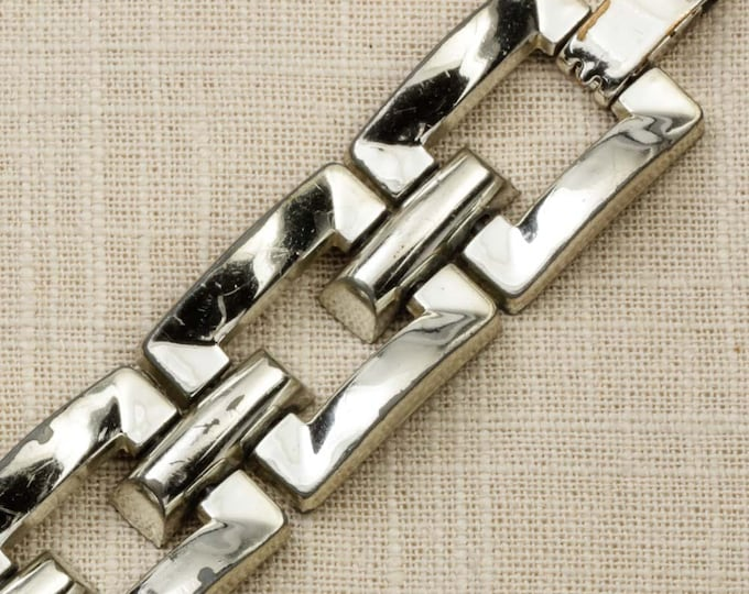 Squares Vintage Bracelet Silver Chunky Chain Costume Jewelry 16S