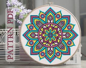 Cross Stitch pattern Mandala, colours spectrum, rainbow, Pattern PDF