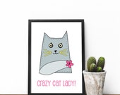 Crazy cat lady print, Bla...