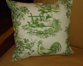 "PIERRE-DEUX French Country For KRAVET ""Alverra"" Clover Fabric New Handmade Double Sided  Complete Pillow 16 x 16 inch, Down/Feather Insert"