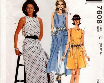 UNCUT Easy McCall's Pattern 7608 - Misses Sleeveless Dress in Two Lengths - 10-14