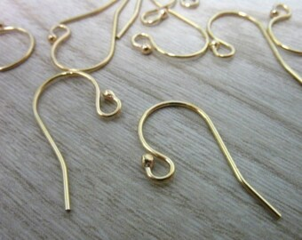 5-100 pairs BULK / 14k Gold Filled French Hook Earrings Earwires Ear Wires Wholesale, 21x12 mm / 14kt GF Single Ball Earrings  fhe.sb