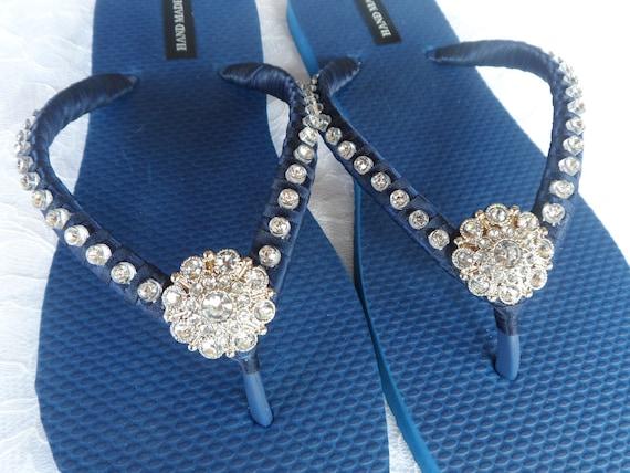 Flip Rhinestones Flip Flops Flip Navy Bridesmaids Flops Flops Blue Flops Colors Bridal Wedding Flip Beach qTqPYwxn7