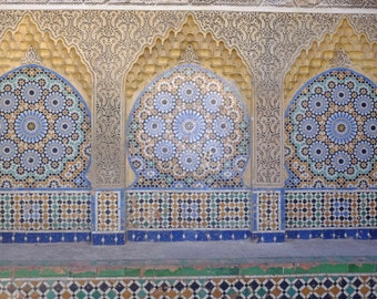 Moroccan Tiles Photo, Blue, Moorish, Morocco Photography, Travel Print, Pale Blue Wall Art, Geometric, Fountain, Ethnic, Bohemian Home Decor