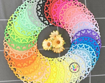 Heart Circle Doilies set. 1 pack of 24pcs.