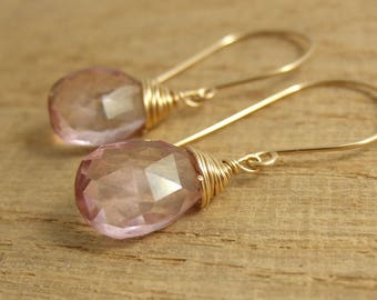 Earrings with Pink Quartz Teardrop Beads Wire Wrapped with Gold Filled Wire GHE-9