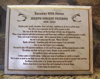 Laser Engraved - Penn State Joe Paterno famous sayings - motivational