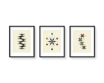 Mid Century Set no.6 - 8x10 Format - Collection of (3) Giclee Prints - Abstract Mid Century Modern