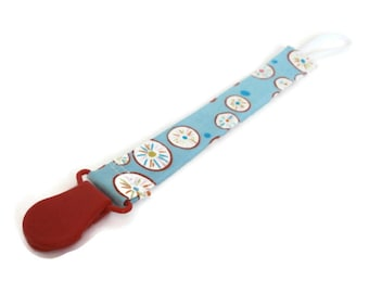 Pacifier Clip Holder | Fabric with Red Plastic Clip | Universal Paci/Teether Holder Clip | Aqua Blue & Red Fabric Binky Clip Accessory