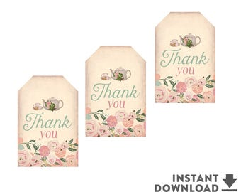 Floral Thank You Gift Tags Favor Tags Printable Shabby Floral Tea Party Birthday Favor Tag Printable (Instant Download) No.734KIDS