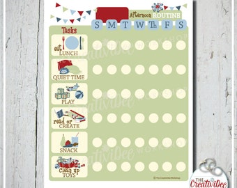 Afternoon Routine Chart | Daily Routine | EDITABLE NAME | Blue | Printable Routine Chart | Afternoon | Chore Chart | Children's Chart