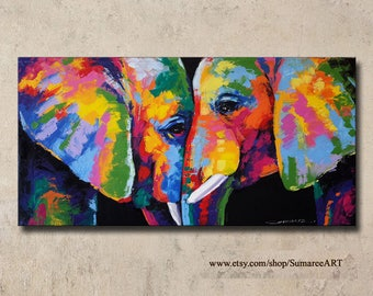 40 x 80 cm, Colorful elephant paintings wall decor paintings
