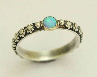 Silver engagement ring, opal ring, boho ring, tribal ring, nature ring, dainty ring, hippie ring, gypsy ring - Your desire R1286