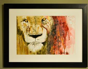 Medium Watercolor Painting -Professionally Framed-Lion of Judah-Blood of the Lamb - Original Work