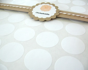 DIY Cupcake Topper, White 1 inch Blank Circle Labels, Round Peel and Stick Stickers - Set of 63