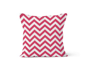 Pink Chevron Pillow Cover - Zig Zag Candy Pink - Lumbar 12 14 16 18 20 22 24 26 Euro - Hidden Zipper Closure