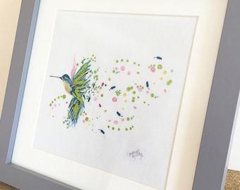 "Hand foiled Hummingbird print 6x6"""