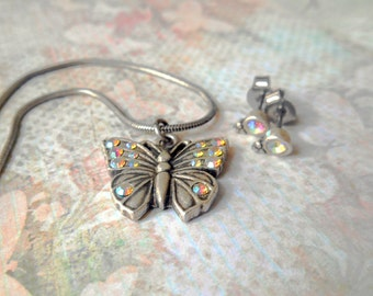 Vintage Butterfly and Rhinestone Earrings Silver NBW