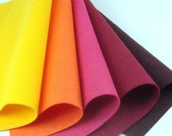 5 Colors Felt Set - Distant Sun - 20cm x 20cm per sheet