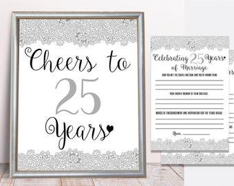 25th Wedding Anniversary Pack, 25th Anniversary Game, 25th Anniversary Activity Sheet, Cheers to 25 Years, celebrating 25 Years of Marriage
