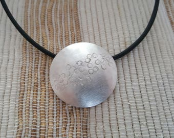 Unique Brushed Texturised Polished Silver Pendant = 925 Sterling silver