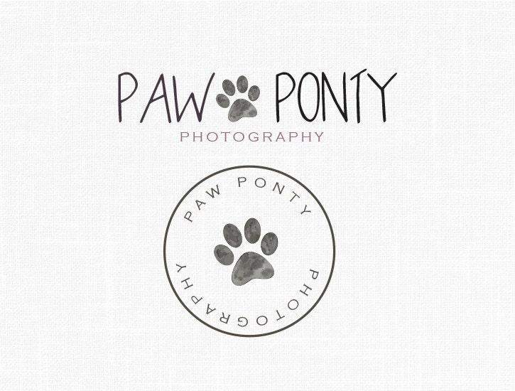 Favorite Paw Logo Design Pet logo Boutique Logo Watercolor Logo UD31