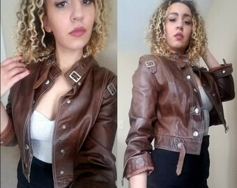 One DAY SALE* Brown vintage 70's UK Leather cropped Jacket
