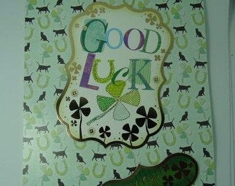GOOD LUCK CARD, Greeting card, You Can Do It, Do Your Best, Try Hard, Four Leaf Clover, Extra Boost of Good Luck, Best of Luck, male/female