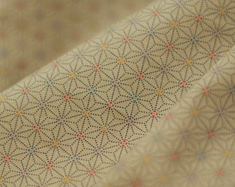 Japanese Asanoha fabric - Sevenberry - traditional pattern Asanoha dotted beige taupe - 50 cm (110 x)