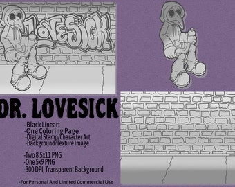 Dr. Lovesick Set - Coloring Page, Background Texture, Digital Stamp - Card Making, Paper Crafts, Scrapbooking