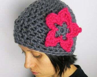 crocheted hat with flower, ladies accessories, gift idea, crochet, winter hat, vegan friendly