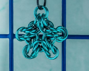 Chainmail Star pendant chain maille blue chain mail pendant star pendant